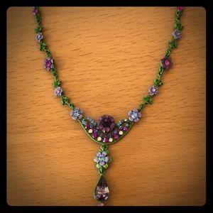 Vintage 1928 necklace, pink & purple rhinestone